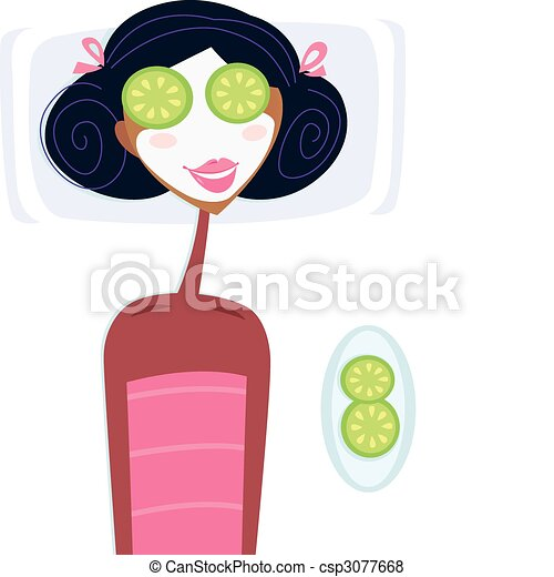 spa woman with facial mask illustration of woman with vector rh canstockphoto com royalty free spa clipart free spa clipart borders