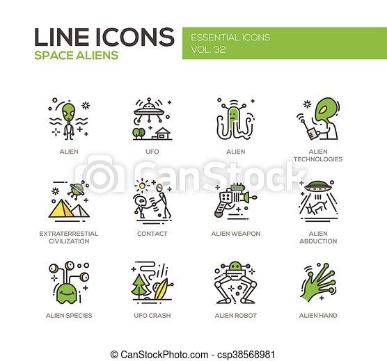 Space Aliens - line design icons set - csp38568981