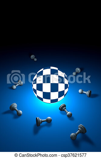 Space and time (chess metaphor). 3D render illustration. - csp37621577