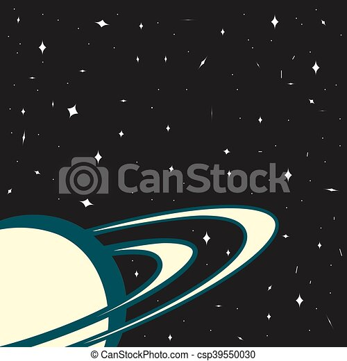 Space background, planet Saturn on a starry background, template - csp39550030