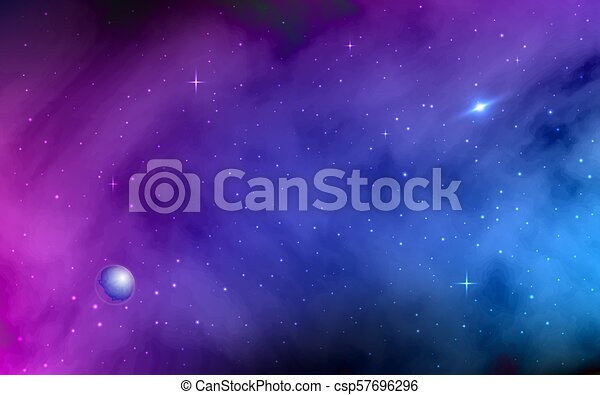 Space Background Shining Stars And Stardust Milky Way Planet Colorful Galaxy With Nebula Abstract Futuristic Backdrop Realistic Vector Illustration