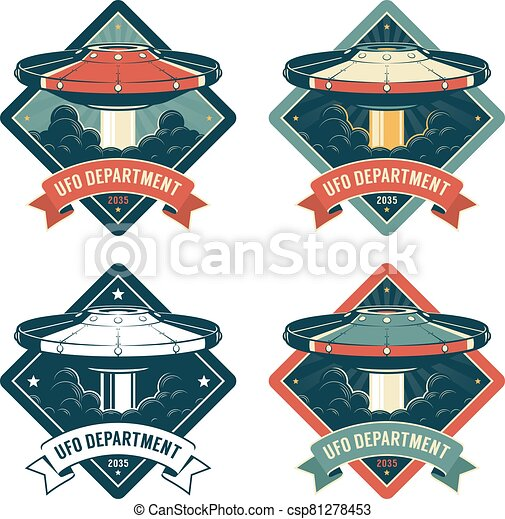Space badge with flying saucer - csp81278453
