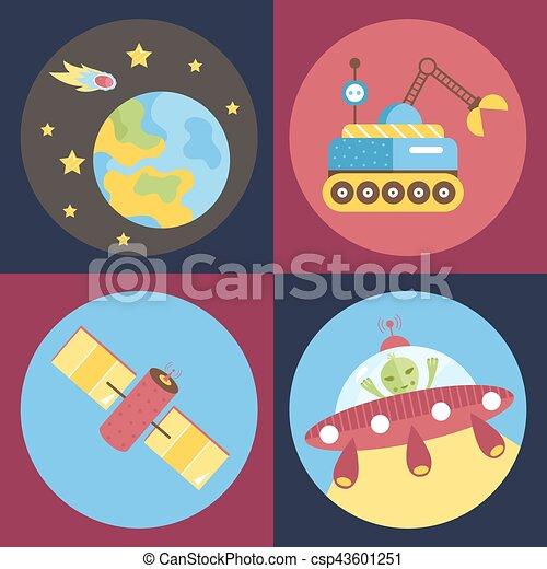 Space Cartoon Vector Icons Collection - csp43601251