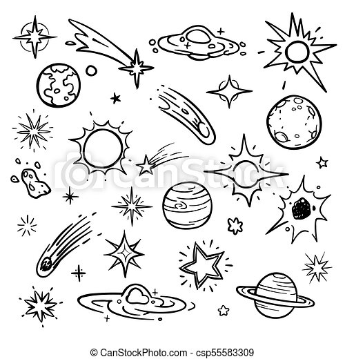 Outer Space Sketch Doodle Vector Vector Illustration ...  |Astronomy Line Drawing