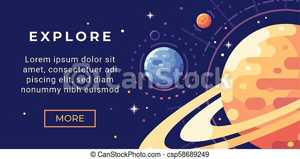 Space Exploration Banner Flat Illustration Astronomy Banner With Planets And Stars