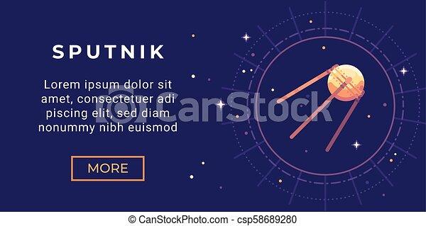 Space Exploration Banner Flat Illustration Astronomy Banner With Sputnik Satellite