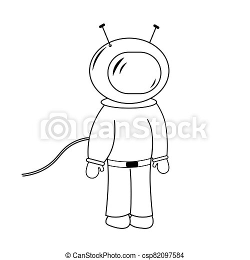 Space man isolated childish line drawing astronaut vector illustration - csp82097584
