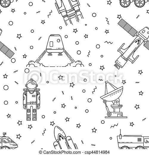 Space memphis seamless pattern