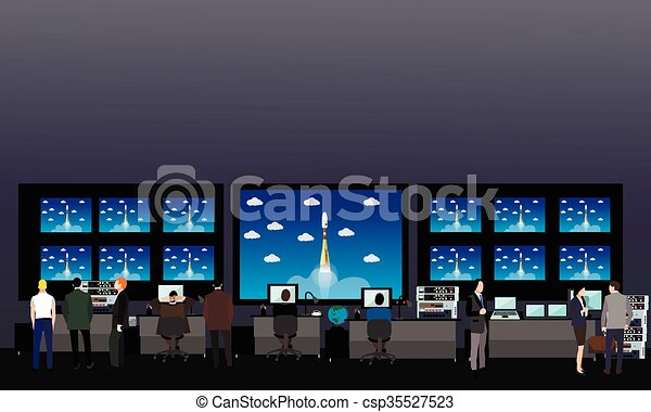 Space mission control center  Rocket launch vector illustration