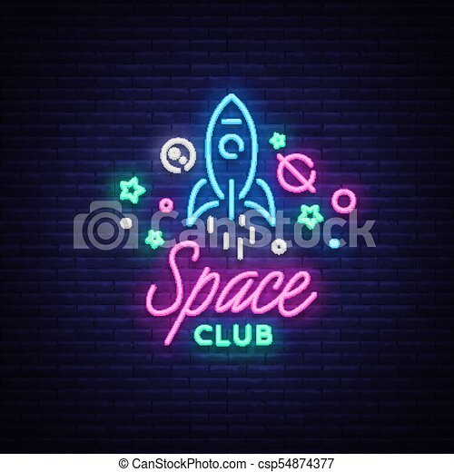 Space nightclub logo in neon style neon sign light banner night space nightclub logo in neon style neon sign light banner night bright night club advertising disco design template for invitation party vector stopboris Choice Image
