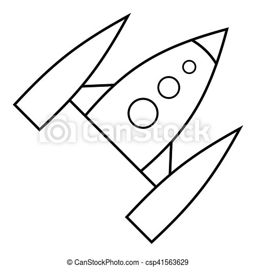 Space Rocket Icon Outline Style Space Rocket Icon Outline