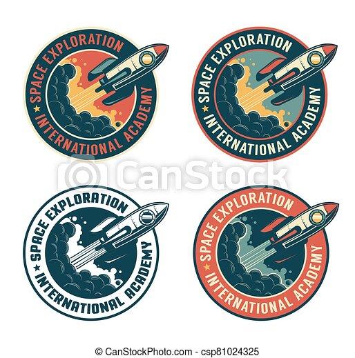 Space rocket vintage badge. Spaceship launch retro emblem - csp81024325