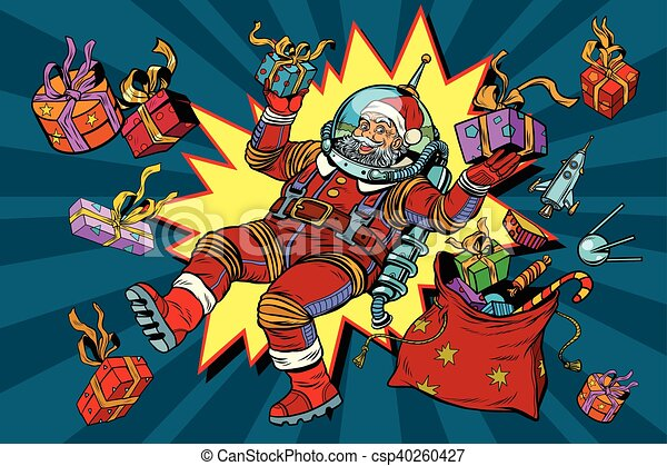 Space Santa Claus in zero gravity with Christmas gifts - csp40260427