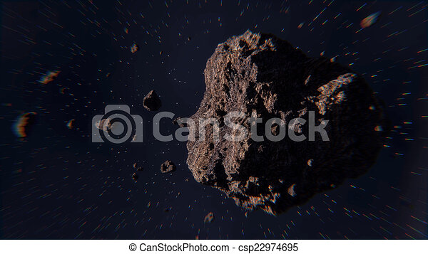 Space scene with asteroids - csp22974695