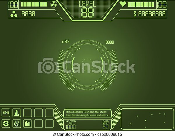 D Line Drawing Game : Space shooter game ui. vector elements for