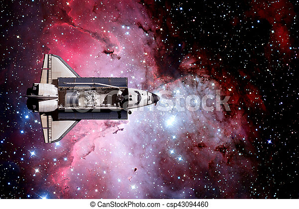 Space Shuttle and aerial night view of the World. - csp43094460