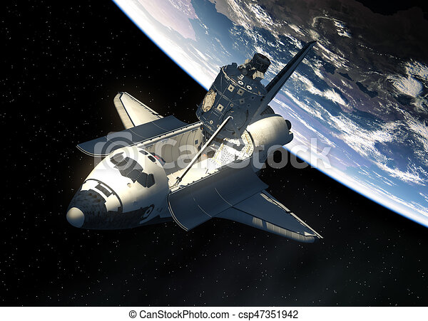 Space Shuttle And Module Of International Space Station