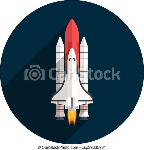space shuttle flat design vector illustration long shadow rh canstockphoto com space shuttle vector free Space Shuttle Badge