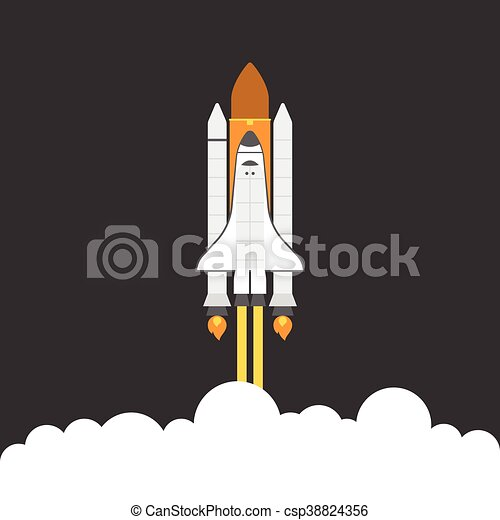 space shuttle, flat design - csp38824356
