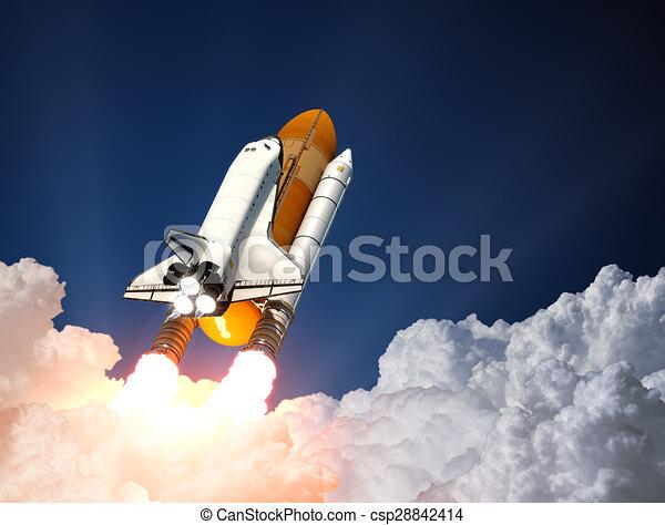 Space Shuttle Launch. 3D - csp28842414