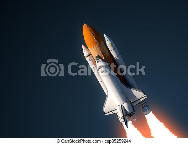 Space Shuttle Launch In Sky - csp35259244