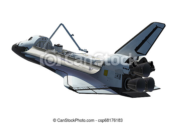 Space Shuttle Orbiter Isolated Over White Background
