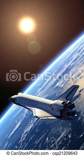 Space Shuttle Orbiting Earth - csp21209643