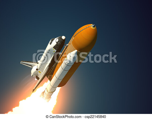 Space Shuttle Takes Off - csp22145840