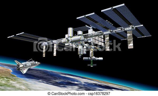 Space station in orbit around Earth, with Shuttle. - csp16378297