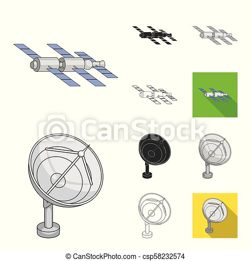 Space technology cartoon, black, flat, monochrome, outline icons in set collection for design. Spacecraft and equipment vector symbol stock web illustration. - csp58232574