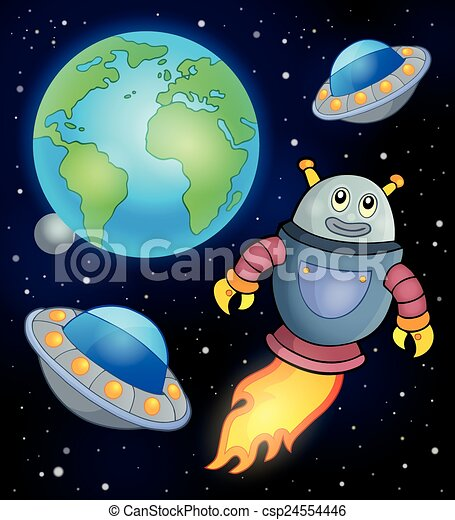 Space theme with flying robot - csp24554446