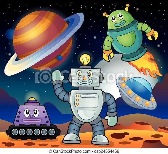 Space theme with robots 1 - csp24554456