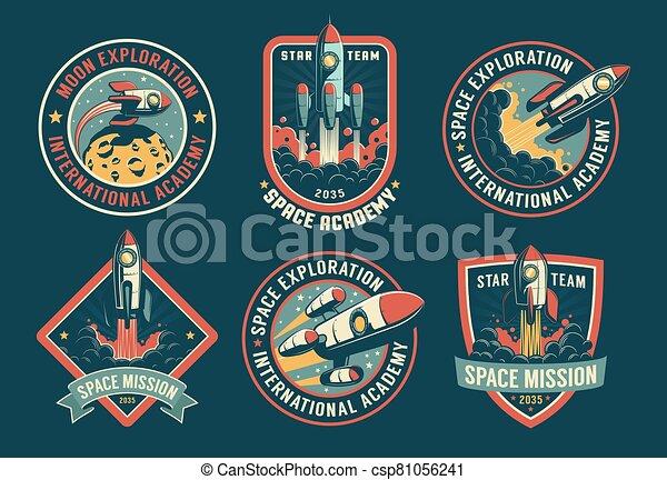 Space vintage badges, emblems and labels set - csp81056241