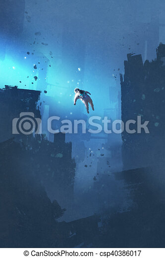 Spaceman Floating In Abandoned City Astronaut Floating In