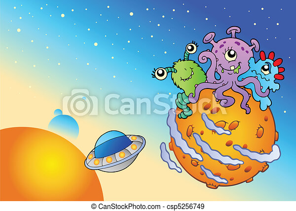 Spacescape with three cute aliens - csp5256749