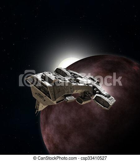 Spaceship Breaking Orbit - csp33410527
