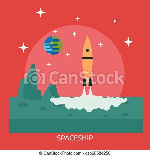 Spaceship Conceptual illustration Design - csp66584250