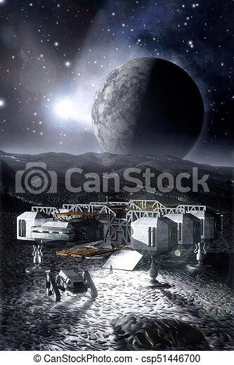 Spaceship On A Barren Planet 3d Render Illustration