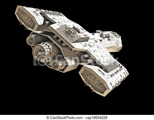 Spaceship on black rear angled view - csp19504229