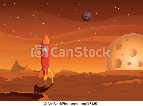 spaceship-on-martian-landscape - csp9154851