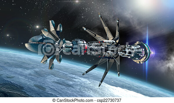 spaceship with warp drive forming futuristic military