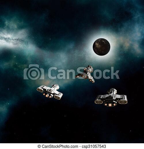 Spaceships Approaching Dark Planet - csp31057543