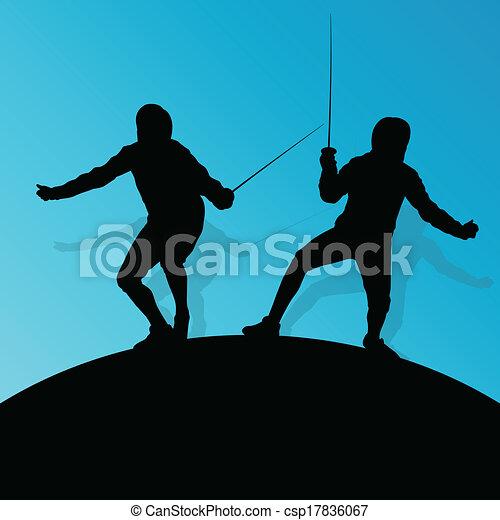 spada, scherma, astratto, giovane, combattimento, silhouette, vettore, illustrazione, fondo, attivo, sport, adolescente - csp17836067