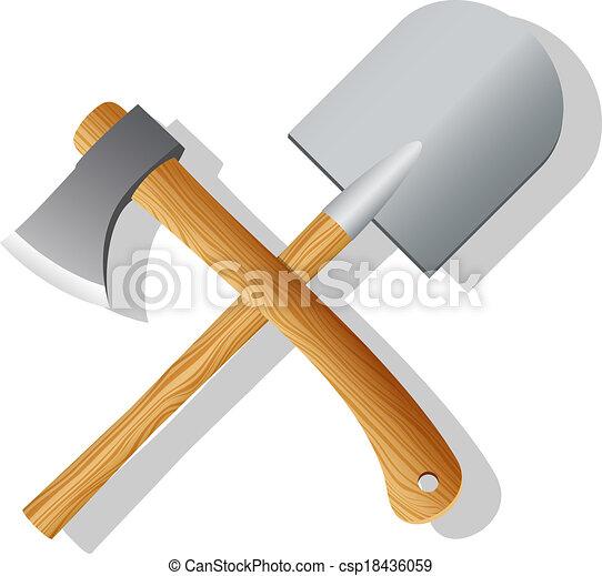 Spade and ax. Vector illustration - csp18436059