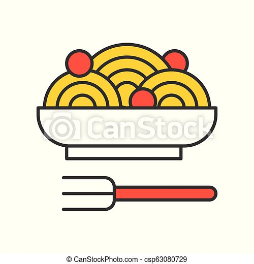 spaghetti and meatballs, Food set, filled outline icon - csp63080729