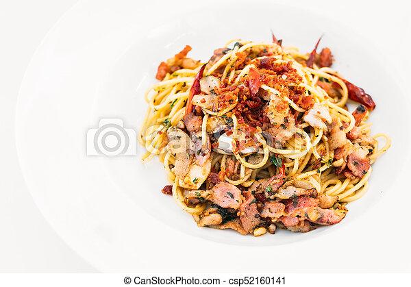 Spaghetti bacon with garlic - csp52160141