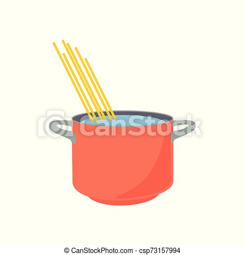 Spaghetti boiling in hot water cooking pot isolated on white background. - csp73157994