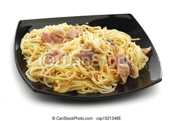 Spaghetti carbonara with fried bacon - csp15213488