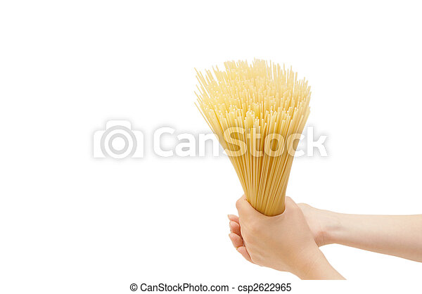 spaghetti in the hand isolated on white - csp2622965
