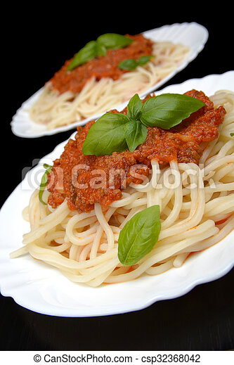Spaghetti Ragu Alla Bolognese Sauce On Black Close Up Spaghetti